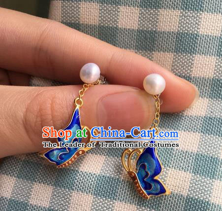 Asian Chinese Traditional Headdress Blueing Butterfly Earrings, China Ancient Handmade Bride Hanfu Eardrop for Women