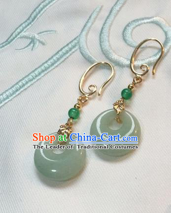 Asian Chinese Traditional Headdress Green Jade Tassel Earrings, China Ancient Handmade Bride Hanfu Crystal Eardrop for Women