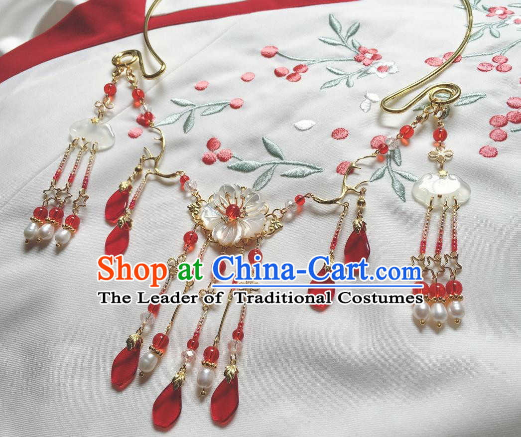Asian Chinese Traditional Headdress Red Crystal Tassel Necklace, China Ancient Handmade Bride Hanfu Xiuhe Suit Collar Necklet for Women