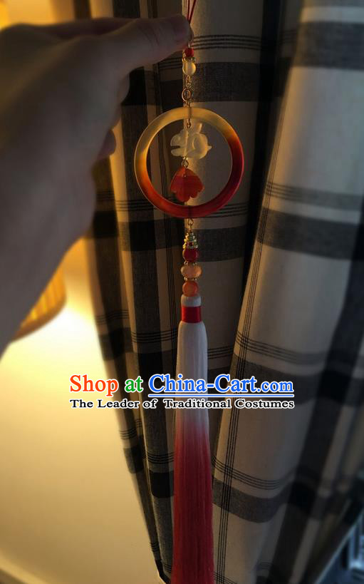 Asian Chinese Traditional Jewelry Accessories Palace Pendant, China Ancient Handmade Bride Hanfu Tassel Jade Waist Pendant for Women