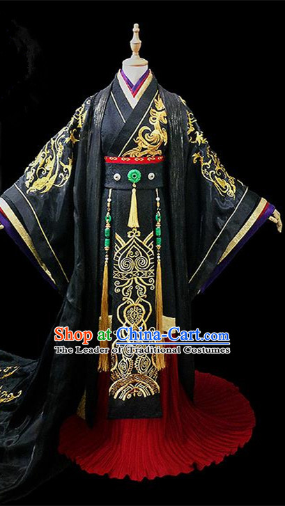 Traditional Ancient Chinese Nobility King Black Embroidered Costume Complete Set, Chinese Tang Dynasty Emperor Robes Hanfu Clothing for Men