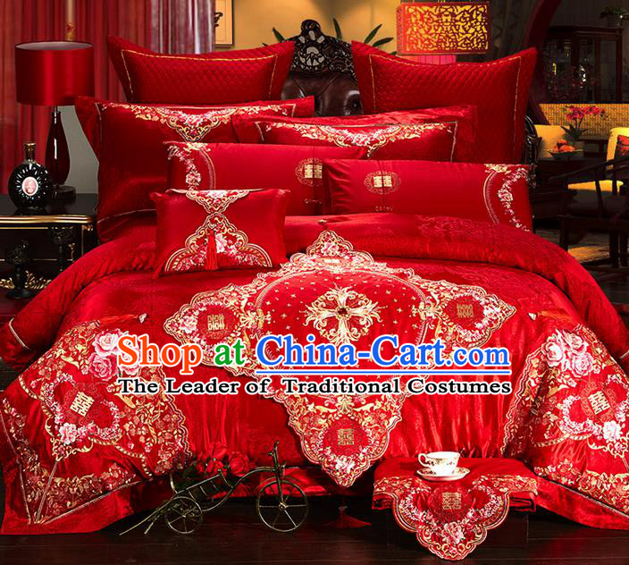 Traditional Asian Chinese Style Wedding Article Palace Lace Qulit Cover Bedding Sheet Complete Set, Embroidered Satin Drill Eleven-piece Duvet Cover Textile Bedding Suit