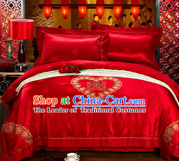 Traditional Asian Chinese Style Wedding Article Palace Lace Qulit Cover Bedding Sheet Complete Set, Embroidered Ombre Flowers Satin Drill Four-piece Duvet Cover Textile Bedding Suit