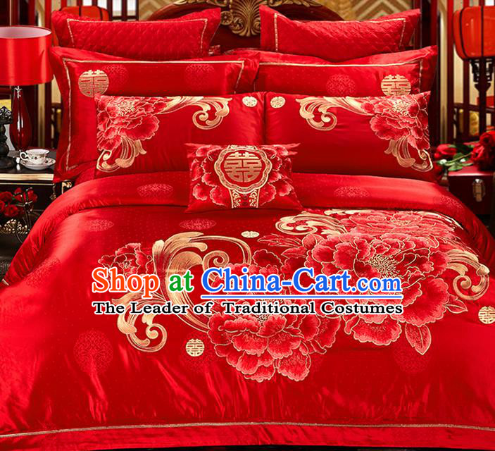 Traditional Asian Chinese Style Wedding Article Palace Lace Qulit Cover Bedding Sheet Complete Set, Embroidered Peony Flowers Satin Drill Ten-piece Duvet Cover Textile Bedding Suit