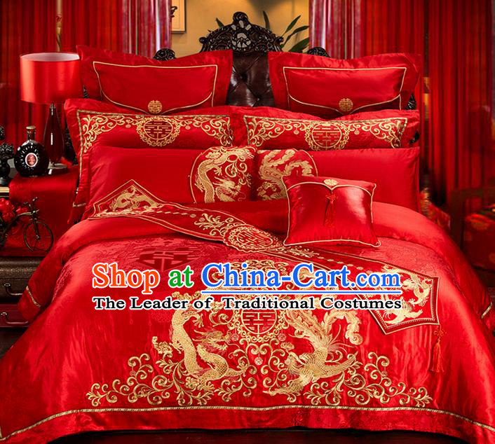 Traditional Asian Chinese Style Wedding Article Palace Lace Qulit Cover Bedding Sheet Complete Set, Embroidered Peony Satin Drill Eleven-piece Duvet Cover Textile Bedding Suit