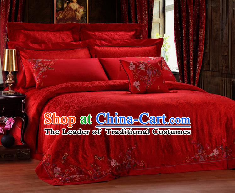 Traditional Asian Chinese Style Wedding Article Palace Lace Qulit Cover Bedding Sheet Complete Set, Embroidered Hundred Sons Satin Drill Eleven-piece Duvet Cover Textile Bedding Suit