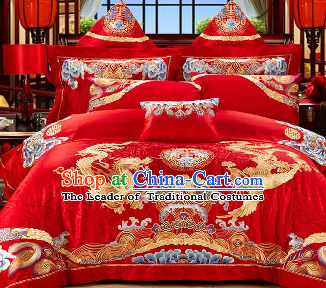 Traditional Asian Chinese Style Wedding Article Palace Lace Qulit Cover Bedding Sheet Complete Set, Embroidered Golden Dragon and Phoenix Satin Drill Eleven-piece Duvet Cover Textile Bedding Suit