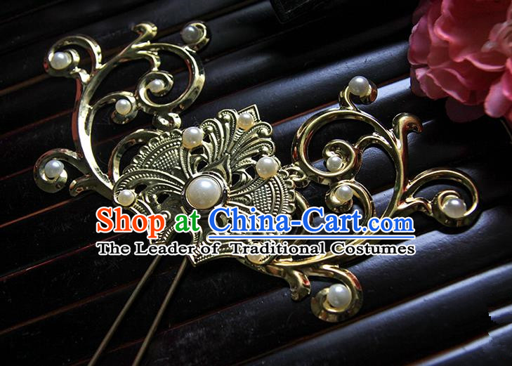 Top Grade Handmade Traditional China Hair Accessories Pteris Hair Stick, Ancient Chinese Hanfu Pearl Hairpins for Women