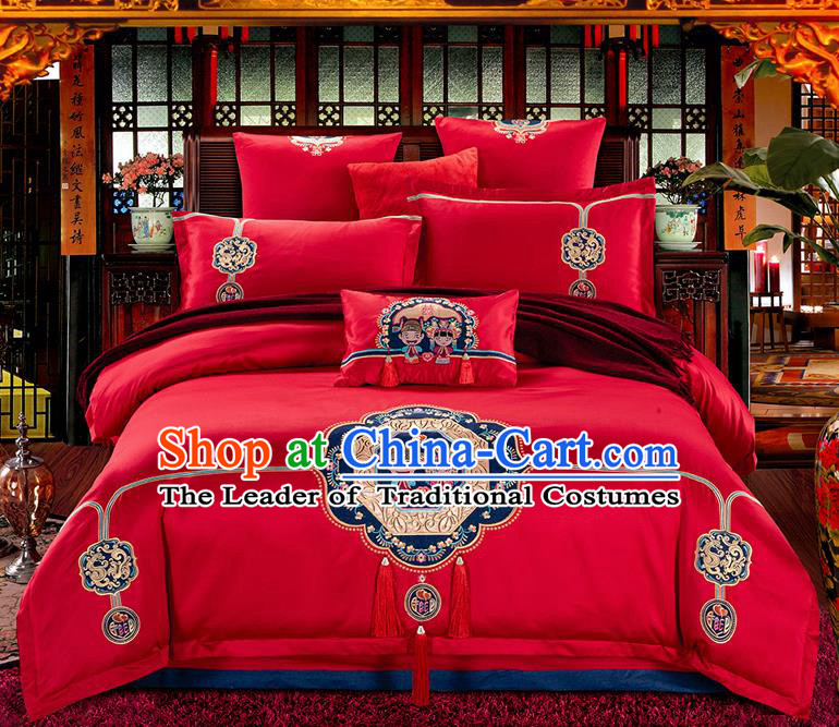 Traditional Asian Chinese Wedding Palace Qulit Cover Bedding Sheet Lace Seven-piece Suit, Embroidered Peking Opera Satin Drill Duvet Cover Textile Bedding Complete Set