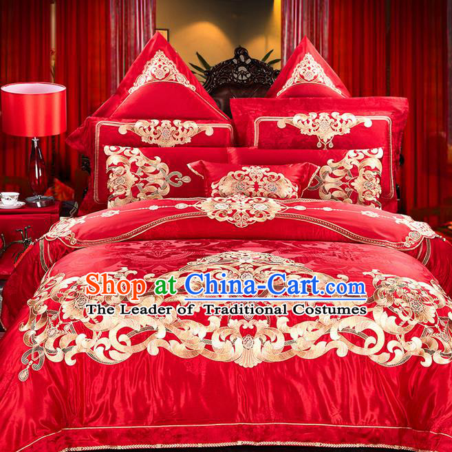 Traditional Asian Chinese Wedding Palace Qulit Cover Bedding Sheet Eleven-piece Suit, Embroidered Flowers Satin Drill Duvet Cover Textile Bedding Complete Set
