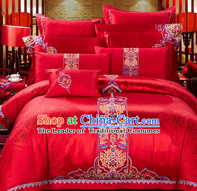Traditional Asian Chinese Wedding Palace Qulit Cover Bedding Sheet Ten-piece Suit, Embroidered Flowers Satin Drill Duvet Cover Textile Bedding Complete Set