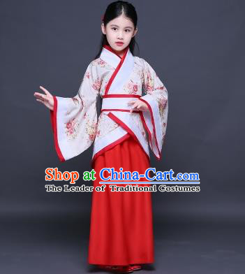 Traditional Ancient Chinese Imperial Princess Costume, Children Elegant Hanfu Clothing Chinese Han Dynasty Red Curve Bottom Dress Clothing for Kids