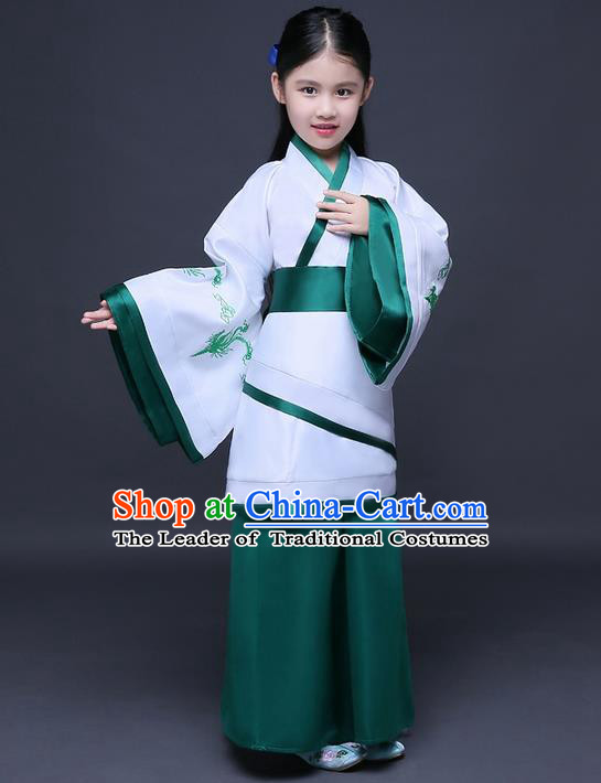 Traditional Ancient Chinese Imperial Princess Printing Phoenix Costume, Children Elegant Hanfu Clothing Chinese Han Dynasty Green Curve Bottom Dress Clothing for Kids