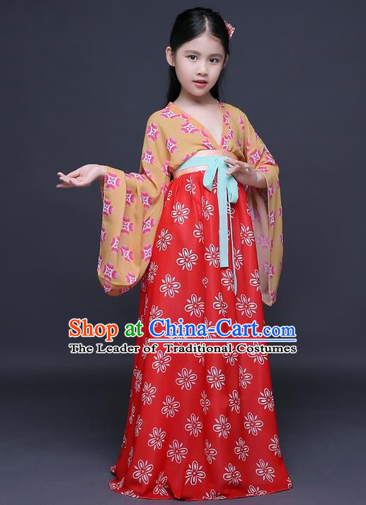 Traditional Ancient Chinese Imperial Princess Fairy Printing Phoenix Costume, Children Elegant Hanfu Clothing Chinese Tang Dynasty Red Ruqun Dress Clothing for Kids