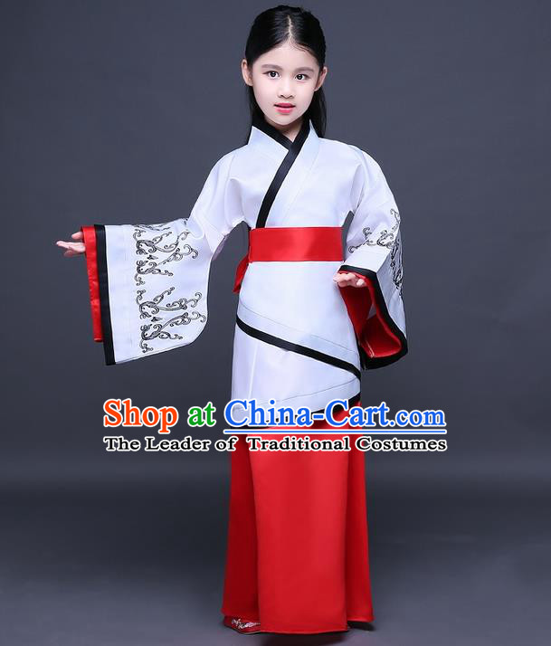 Traditional Ancient Chinese Imperial Princess Fairy Printing Costume, Children Elegant Hanfu Clothing Han Dynasty Red Curve Bottom Dress Clothing for Kids