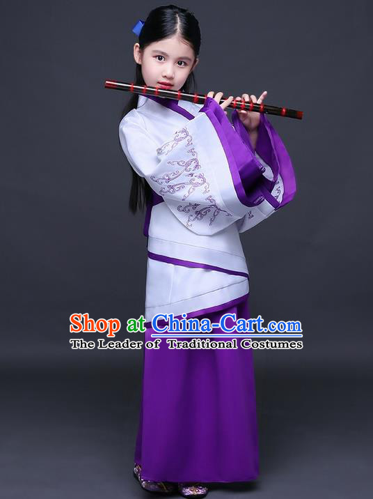 Traditional Ancient Chinese Imperial Princess Fairy Printing Costume, Children Elegant Hanfu Clothing Han Dynasty Purple Curve Bottom Dress Clothing for Kids