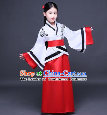 Traditional Ancient Chinese Imperial Princess Fairy Embroidery Costume, Children Elegant Hanfu Clothing Han Dynasty White Curve Bottom Dress Clothing for Kids