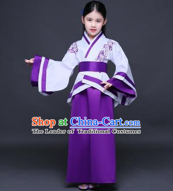 Traditional Ancient Chinese Imperial Princess Fairy Embroidery Costume, Children Elegant Hanfu Clothing Han Dynasty Purple Curve Bottom Dress Clothing for Kids