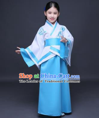 Traditional Ancient Chinese Imperial Princess Fairy Embroidery Costume, Children Elegant Hanfu Clothing Han Dynasty Blue Curve Bottom Dress Clothing for Kids
