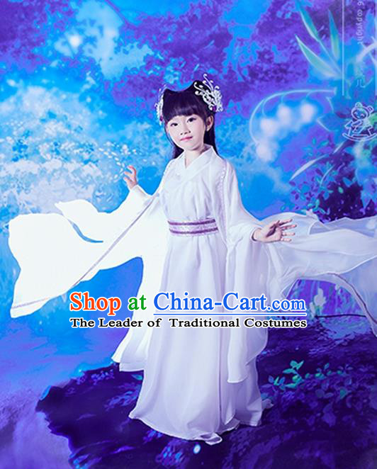 Traditional Ancient Chinese Little Girls Embroidery Wedding Costume, Children Elegant Hanfu Clothing Tang Dynasty Princess Fairy Dress Clothing for Kids