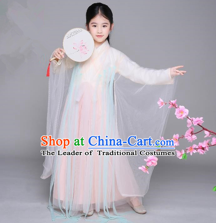 Traditional Ancient Chinese Apsara Girls Embroidery Wedding Costume, Children Elegant Hanfu Clothing Tang Dynasty Princess Fairy Dress Clothing for Kids