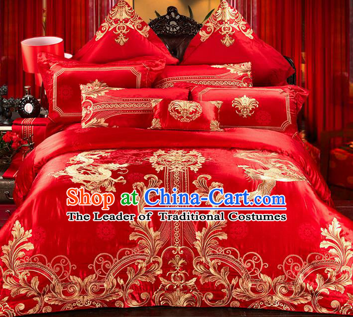 Traditional Asian Chinese Style Wedding Article Embroidery Dragon and Phoenix Satin Drill Bedding Sheet Complete Set, Duvet Cover Red Textile Bedding Suit