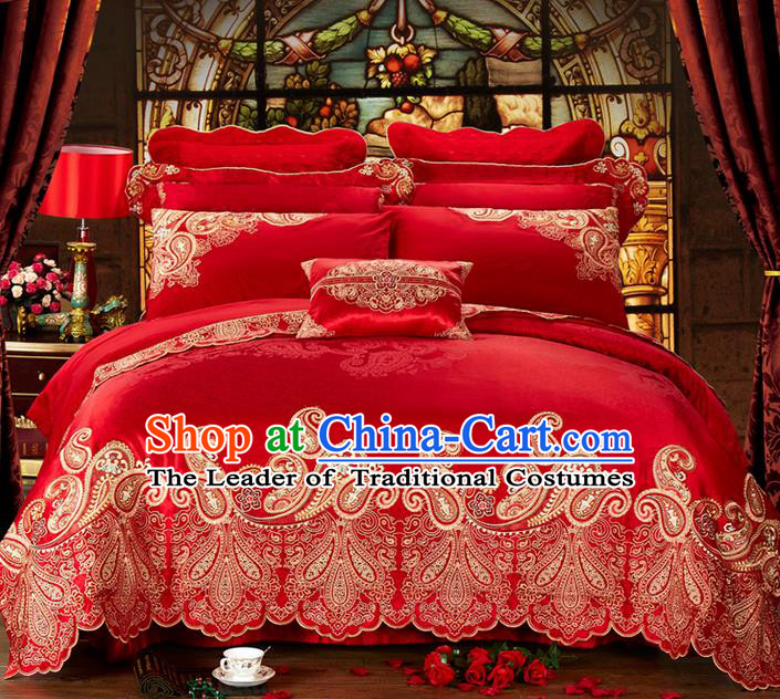 Traditional Asian Chinese Style Wedding Article Embroidery Bedding Sheet Complete Set, Duvet Cover Red Satin Drill Textile Bedding Ten-piece Suit