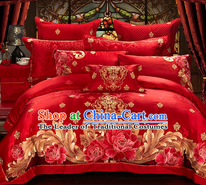 Traditional Asian Chinese Style Wedding Article Embroidery Peony Bedding Sheet Complete Set, Duvet Cover Red Satin Drill Textile Bedding Ten-piece Suit