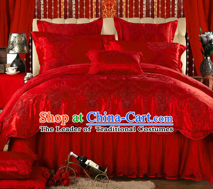 Traditional Asian Chinese Style Wedding Article Jacquard Weave Bedding Sheet Complete Set, Embroidery Red Ten-piece Lace Duvet Cover Satin Drill Textile Bedding Suit