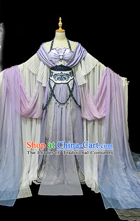 Traditional Ancient Chinese Imperial Concubine Embroidered Fairy Costume, Chinese Tang Dynasty Princess Dress Hanfu Clothing for Women