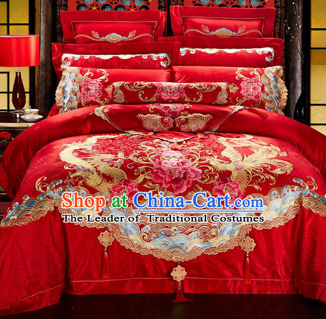 Traditional Asian Chinese Style Wedding Article Bedding Peony Sheet Complete Set, Embroidery Dragon and Phoenix Red Twelve-piece Duvet Cover Satin Drill Textile Bedding Suit