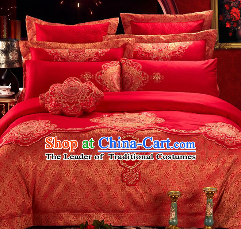 Traditional Asian Chinese Style Wedding Article Bedding Sheet Complete Set, Embroidery Red Nine-piece Duvet Cover Satin Drill Textile Bedding Suit