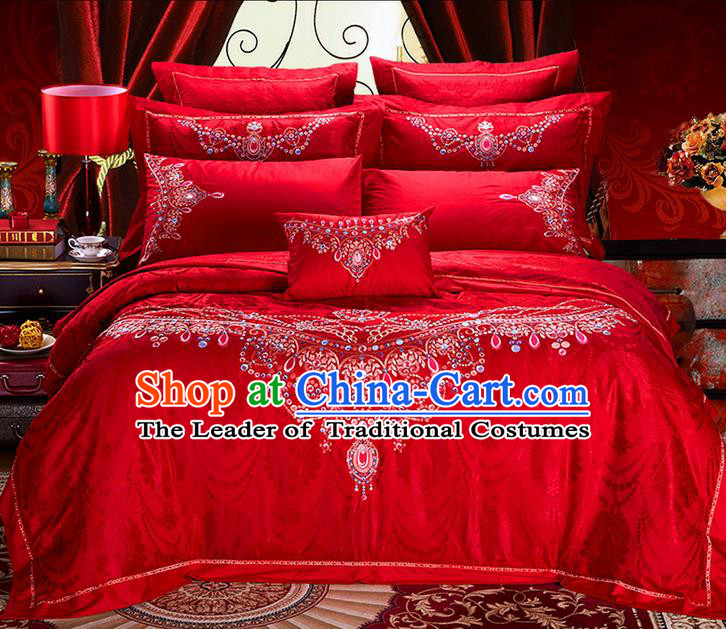 Traditional Asian Chinese Style Wedding Article Bedding Red Sheet Complete Set, Embroidery Bride Ten-piece Duvet Cover Satin Drill Textile Bedding Suit