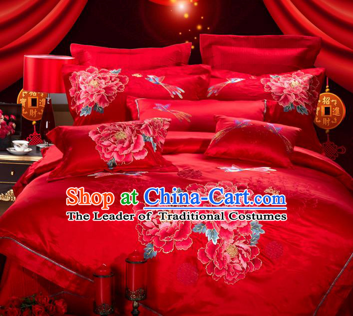 Traditional Asian Chinese Style Wedding Article Bedding Red Sheet Complete Set, Embroidery Peony Eleven-piece Duvet Cover Satin Drill Textile Bedding Suit