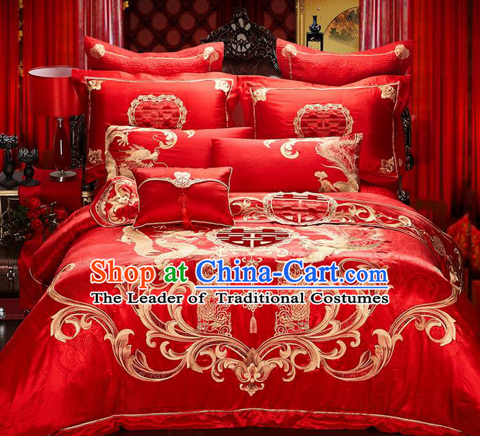 Traditional Asian Chinese Style Wedding Article Bedding Golden Dragon and Phoenix Sheet Complete Set, Embroidery Six-piece Duvet Cover Satin Drill Textile Bedding Suit