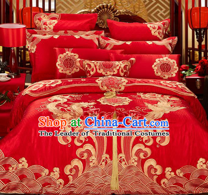 Traditional Asian Chinese Style Wedding Article Bedding Golden Dragon and Phoenix Sheet Complete Set, Embroidery Peony Eleven-piece Duvet Cover Satin Drill Textile Bedding Suit