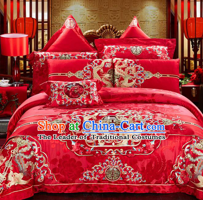 Traditional Asian Chinese Style Wedding Article Bedding Sheet Complete Set, Embroidery Peony Dragon and Phoenix Eleven-piece Duvet Cover Satin Drill Textile Bedding Suit