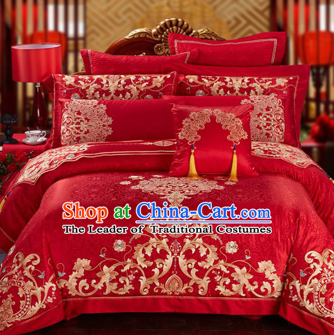 Traditional Asian Chinese Style Wedding Article Palace Embroidered Qulit Cover Bedding Sheet Complete Set, Jacquard Weave Satin Drill Eleven-piece Duvet Cover Textile Bedding Suit