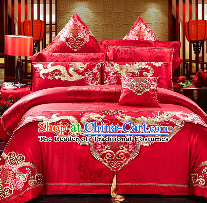 Traditional Asian Chinese Style Wedding Article Palace Embroidered Peony Qulit Cover Bedding Sheet Complete Set, Dragon and Phoenix Jacquard Weave Satin Drill Eleven-piece Duvet Cover Textile Bedding Suit
