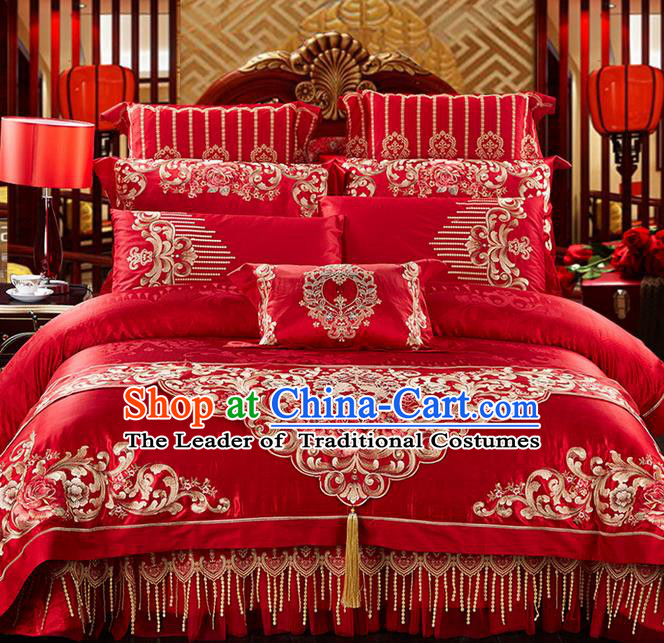 Traditional Asian Chinese Style Wedding Article Palace Lace Qulit Cover Bedding Sheet Complete Set, Embroidered Peony Jacquard Weave Satin Drill Eleven-piece Duvet Cover Textile Bedding Suit