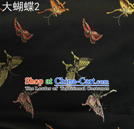 Asian Chinese Traditional Printing Colorful Butterfly Black Silk Fabric, Top Grade Brocade Satin Tang Suit Hanfu Dress Fabric Cheongsam Cloth Material