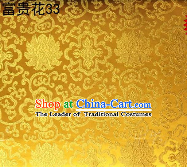 Asian Chinese Traditional Riches and Honour Flowers Golden Embroidered Silk Fabric, Top Grade Arhat Bed Brocade Satin Tang Suit Hanfu Dress Fabric Cheongsam Cloth Material