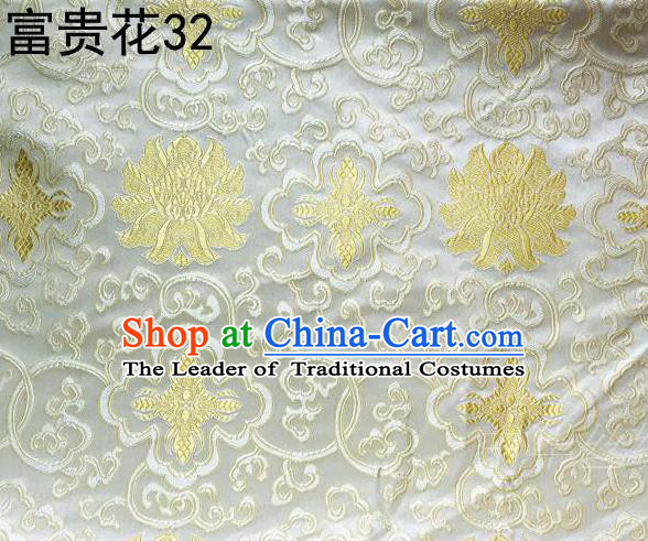Asian Chinese Traditional Golden Riches and Honour Flowers Embroidered White Silk Fabric, Top Grade Arhat Bed Brocade Satin Tang Suit Hanfu Dress Fabric Cheongsam Cloth Material