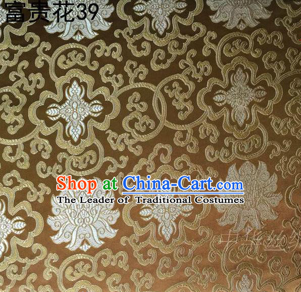 Asian Chinese Traditional White Riches and Honour Flowers Embroidered Mud Golden Silk Fabric, Top Grade Arhat Bed Brocade Satin Tang Suit Hanfu Dress Fabric Cheongsam Cloth Material