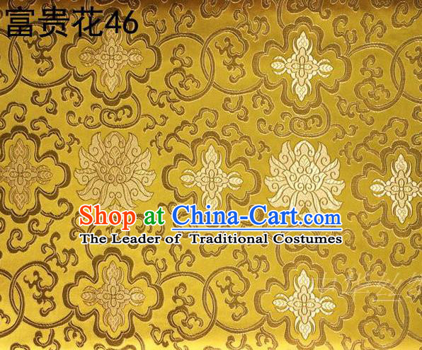 Asian Chinese Traditional Riches and Honour Flowers Embroidered Golden Silk Fabric, Top Grade Arhat Bed Brocade Satin Tang Suit Hanfu Dress Fabric Cheongsam Cloth Material