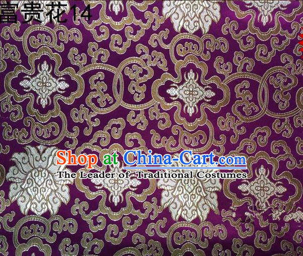 Asian Chinese Traditional Golden Riches and Honour Flowers Embroidered Purple Silk Fabric, Top Grade Arhat Bed Brocade Satin Tang Suit Hanfu Dress Fabric Cheongsam Cloth Material