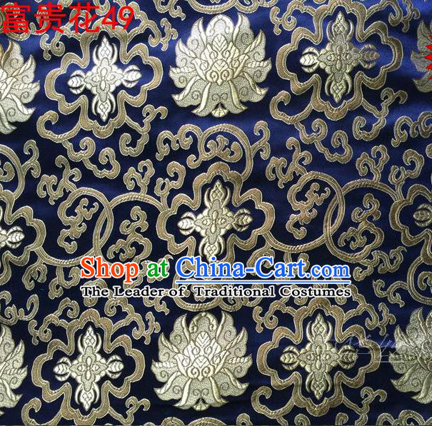 Asian Chinese Traditional Golden Riches and Honour Flowers Embroidered Royalblue Silk Fabric, Top Grade Arhat Bed Brocade Satin Tang Suit Hanfu Dress Fabric Cheongsam Cloth Material