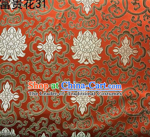 Asian Chinese Traditional Golden Riches and Honour Flowers Embroidered Orange Silk Fabric, Top Grade Arhat Bed Brocade Satin Tang Suit Hanfu Dress Fabric Cheongsam Cloth Material