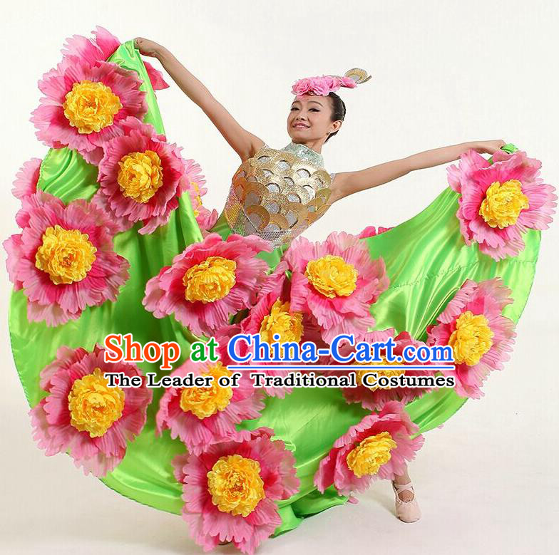 Chinese Classic Stage Performance Dance Costumes, Opening Dance Competition Flowers Green Dress, Folk Dance Classic Big Swing Clothing for Women