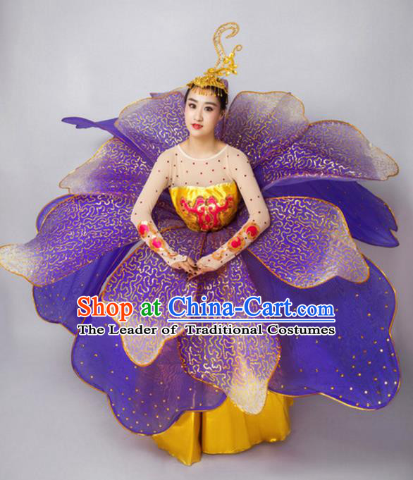 Chinese Classic Stage Performance Dance Costumes, Opening Dance Folk Dance Classic Big Swing Purple Dress for Women
